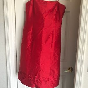 Gorgeous embroidered red silk dress